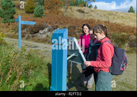 Walkers on the Great Glen Way High Route between Invermoriston and Drumnadrochit above Alltsigh, Highlands, Scotland - Stock Image