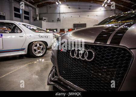 Bielsko-Biala, Poland. 12th Aug, 2017. International automotive trade fairs - MotoShow Bielsko-Biala. Front of a modified Audi S5. Credit: Lukasz Obermann/Alamy Live News - Stock Image