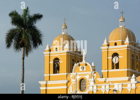 A view of the colonial style cathedral in the main square in Trujillo, Peru - Stock Image