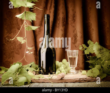 Wine still life in vintage style - Stock Image