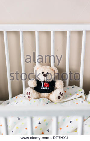 Poznan, Poland - November 8, 2018: Teddy bear with I love Gdynia shirt sitting in a wooden baby bed. - Stock Image