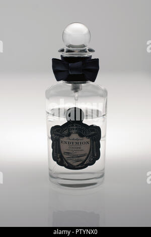 Penhaligons Endymion cologne bottle in close up. Founded in the 1860s by William Henry Penhaligon, a Cornish barber established his business in London - Stock Image