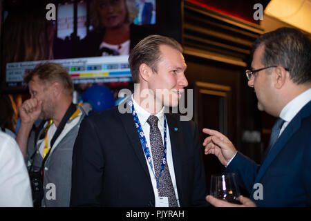 Stockholm, Sweden, September 9, 2018. Swedish General Election 2018.  Election Night Watch Party for Sweden Democrats (SD) in central Stockholm, Sweden. Markus Wiechel (SD). Credit: Barbro Bergfeldt/Alamy Live News - Stock Image