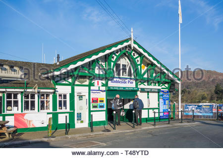 The pier at Ambleside on Lake Windermere, Cumbria, England, UK - Stock Image
