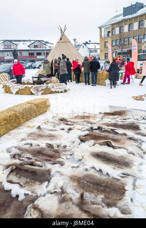 Sami exhibition with furs and traditional lavvu dwelling, Kirkenes, Finnmark County Norway - Stock Image