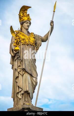 Pallas Athena statue at the Parliament Building, Vienna, Austria - Stock Image