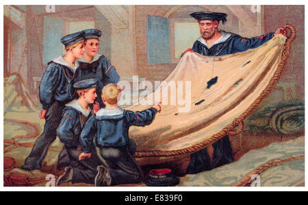 Lithograph below deck H M S  Imperial Sea cadets looking at battle damage to sail circa 1885 - Stock Image
