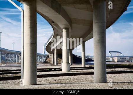 curvy concrete bridge, Port of Muuga - Stock Image