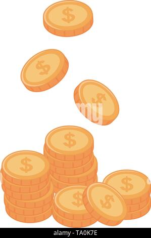Coins design, Money financial item commerce market payment  invest and buy theme Vector illustration - Stock Image