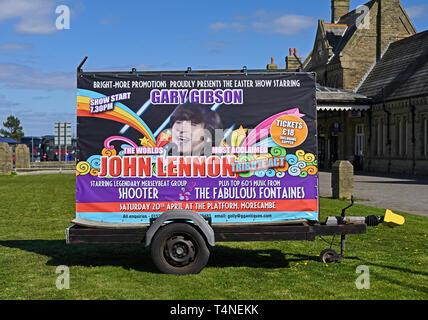 Mobile advertising hoarding. Gary Gibson the world's most acclaimed John Lennon tribute act. Marine Drive, Morecambe, Lancashire, England, U.K. - Stock Image