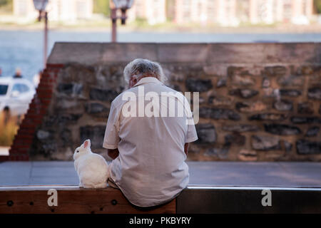 Elderly man sitting with his rabbit at the Royal Battery in Old Québec City near the Saint Lawrence River. Old Québec City, Canada - Stock Image