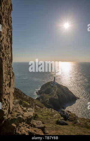 Beautiful Welsh scenery: South Stack lighthouse on Holy Island at sunset, near Holyhead, Anglesey, Wales, UK. Bright sun rays glistening in  the ocean. - Stock Image
