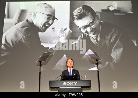 Tokyo, Japan. 21st May, 2019. Kenichiro Yoshida, president and CEO of Sony Corporation, presents its corporate strategy during a news briefing at its Tokyo head office on Tuesday, May 21, 2019. Yoshida detailed the companys progress for the fiscal year ending march 31, 2020. Credit: Natsuki Sakai/AFLO/Alamy Live News - Stock Image
