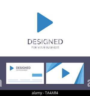 Creative Business Card and Logo template Control, Media, Play, Video Vector Illustration - Stock Image