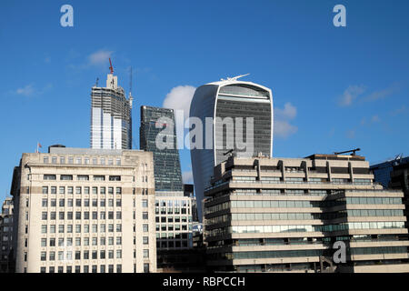 City of London skyscrapers Leadenhall, Walkie Talkie building & construction cranes view from London Bridge London England UK KATHY DEWITT - Stock Image