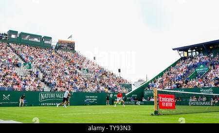 Eastbourne UK 25th June 2019 - Andy Murray of Great Britain in action with partner Marcelo Melo at Nature Valley International tournament - Stock Image