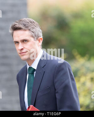 London, UK. 26th March 2019, Gavin Williamson, MP PC, Defence Secretary, arrives at a Cabinet meeting at 10 Downing Street, London, UK. Credit: Ian Davidson/Alamy Live News - Stock Image