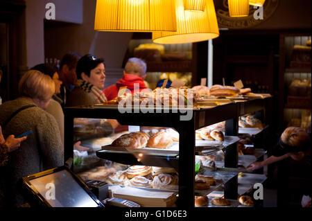 Piekarnia Sarzynski local bakery interior in Kazimierz Dolny at Nadrzeczna 6 Street, Poland, Europe, tourist travel - Stock Image