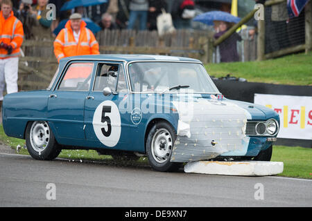Chichester, West Sussex, UK. 13th Sep, 2013. Goodwood Revival. Goodwood Racing Circuit, West Sussex - Friday 13th September. A car smashes into the polystyrene chicane during a qualifying session. © MeonStock/Alamy Live News - Stock Image