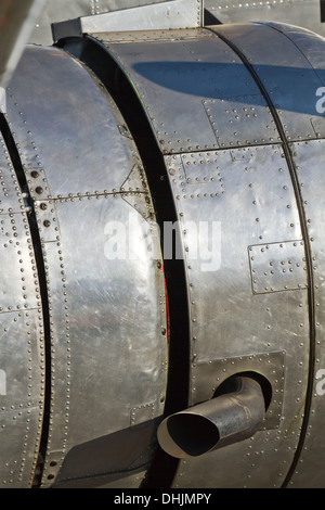 Preserved DC-2 airliner aircraft engine detail with an exhaust prominent - Stock Image