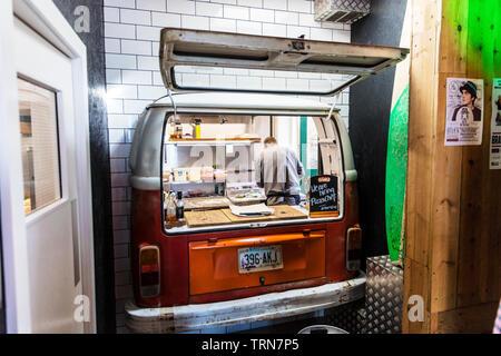 VW camper van converted to pizza kitchen, camper van, pizza kitchen, VW camper van, converted, pizza shop, conversion, unusual, strange, unique, - Stock Image