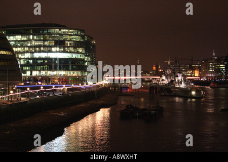 HMS Belfast at the South Bank London at night 2007 - Stock Image