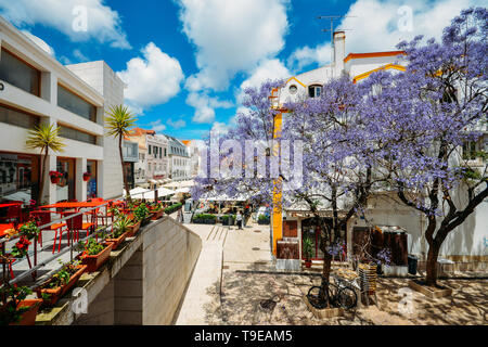 Busy touristic restaurants and bars with traditional Portuguese architecture and blue Jacaranda tree on foreground in Cascais, Portugal. - Stock Image