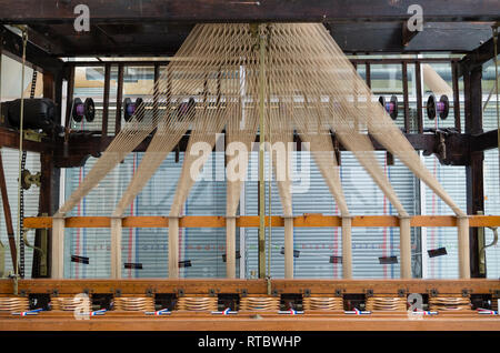 A Jacquard ribbon weaving loom in the Herbert Art Gallery and Museum, Coventry UK. - Stock Image