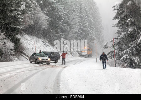 Two vehicles without chains spun out on snowy road during snowstorm while snow plow approaches on Tombstone Pass, - Stock Image