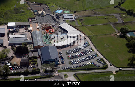 aerial view of the Ice Cream Farm (Drumlan Hall Farm) at Tattenhall, Cheshire - Stock Image