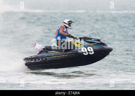 Stokes Bay, Hampshire, UK. 6th Sep, 2014. P1 Superstock final round. Stokes Bay, Gosport, Hampshire. AquaX rider - Stock Image
