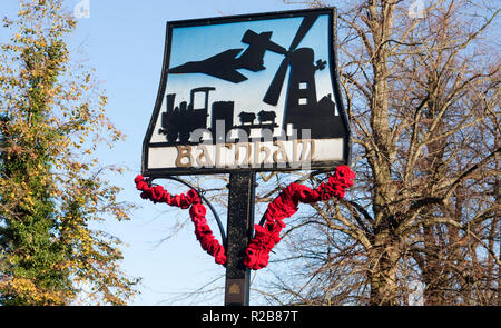 Close up of the village sign in Barnham, Suffolk - Stock Image