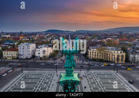 Budapest, Hungary - Aerial view of Heroes' Square with a beautiful golden sunset - Stock Image