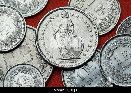 Coins of Switzerland. Standing Helvetia depicted in the Swiss two franc coin. - Stock Image