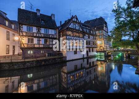 Traditional houses in La Petite France, Strasbourg, Alsace, France - Stock Image