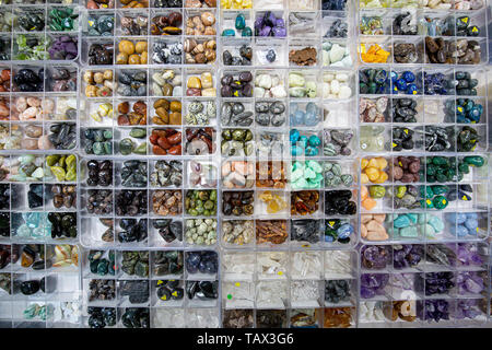 Set of various natural mineral stones - Stock Image