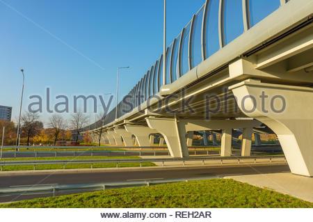 Poznan, Poland - November 7, 2018: New build road bridge on the Inflancka street. - Stock Image