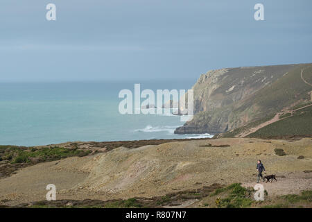 A woman walking her dog on a cliff in Cornwall, UK. - Stock Image