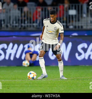 Optus Stadium, Perth, Western Australia. 13th July, 201913th July 2019, Optus Stadium, Perth, Western Australia; Pre-season friendly football, Perth Glory versus Manchester United; Marcus Ashford of Manchester United controls the ball just outside of the box Credit: Action Plus Sports Images/Alamy Live News - Stock Image
