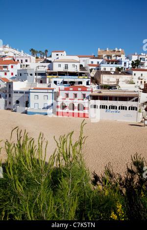 Portugal, Algarve, Carvoeiro, Beach & Town - Stock Image