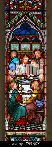 Stained glass window Waldringfield church, Suffolk, England, UK Jesus Christ and  Last Supper c 1864 by Lavers and Barraud - Stock Image