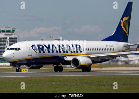 Ryanair Boeing 737-800, registration EI-DLG, preparing for take off at Manchester Airport, England. - Stock Image