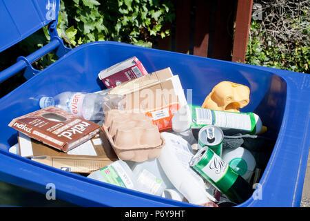 Blue bin mixed recycling - Stock Image