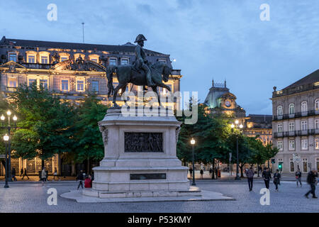 Equestrian statue of King Peter IV The Liberator on Liberty Square in Porto, Portugal - Stock Image