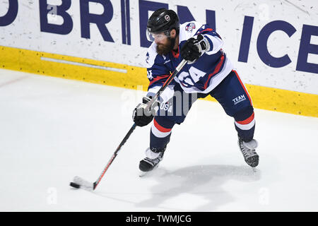 21st June 2019, O'Brien Group Arena, Melbourne, Victoria, Australia; 2019 Ice Hockey Classic, Canada versus USA; Josh Harris of USA skates with the puck Credit: Action Plus Sports Images/Alamy Live News - Stock Image