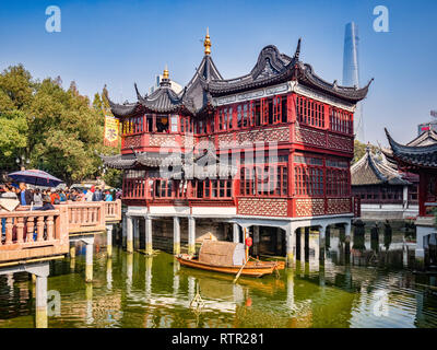 29 November 2018 - Shanghai, China  -  The Huxinting Tea House and Nine Turn Bridge in the Yu Garden area of the Old Town, Shanghai - Stock Image