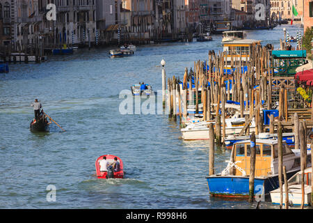 The view on the Grand Canal in Venice from the Rialto Bridge - Stock Image