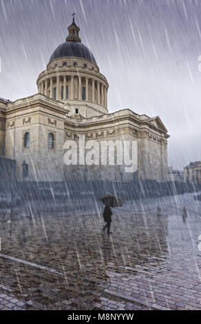 Pantheon, Paris in the rain with silhouette of woman with umbrella. - Stock Image