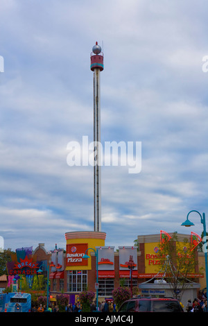 Space Spiral Tower and restaurants and shops, Niagara Falls, Ontario Canada - Stock Image