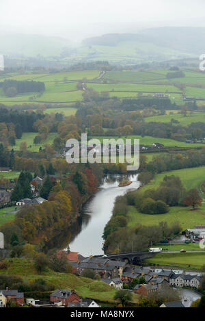 The River Wye from Garth Trig Point showing the Elan Wye Confluence - Stock Image